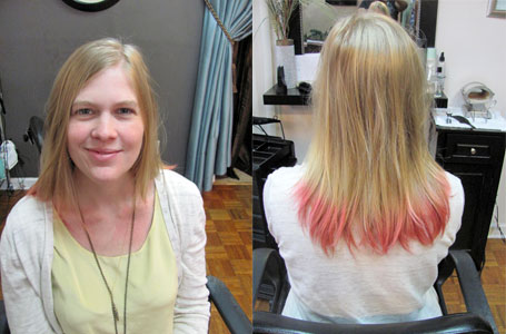 My faded pink dye and frazzled ends were way overdue for some attention