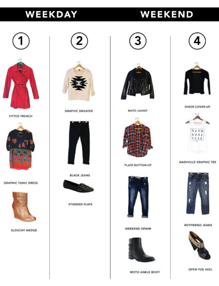 ( 1 ) Trench, Old - Target | Tunic Dress, Second-hand | Wedge, Second-hand ( 2 ) Sweater, Second-hand | Jeans, Second-hand | Flats, Second-hand ( 3 ) Moto Jacket, Old - Target | Button-up, Second-hand | Weekend Denim, Old - Target | Ankle Boot, Old - Nine West ( 4 ) Cover-up, Old (10 years at least) - Belk | Graphic Tee, Benefits Nashville residents recovering from homelessness, addiction and mental illness | Boyfriend Jeans, Second-hand | Heel, Old - Carlos Santana