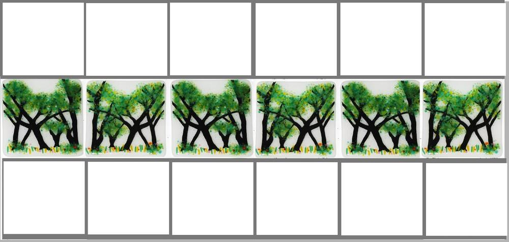 When placed side-by-side, the tree limbs create arches. This effect occurred when I reverse the images on three of the six tiles.