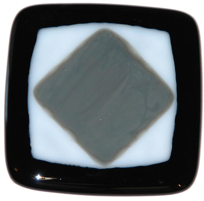 Black, gray and white Craftsman fused glass tile