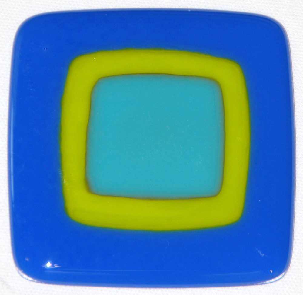 Craftsman fused glass tile in sky blue, yellow, and aqua blue