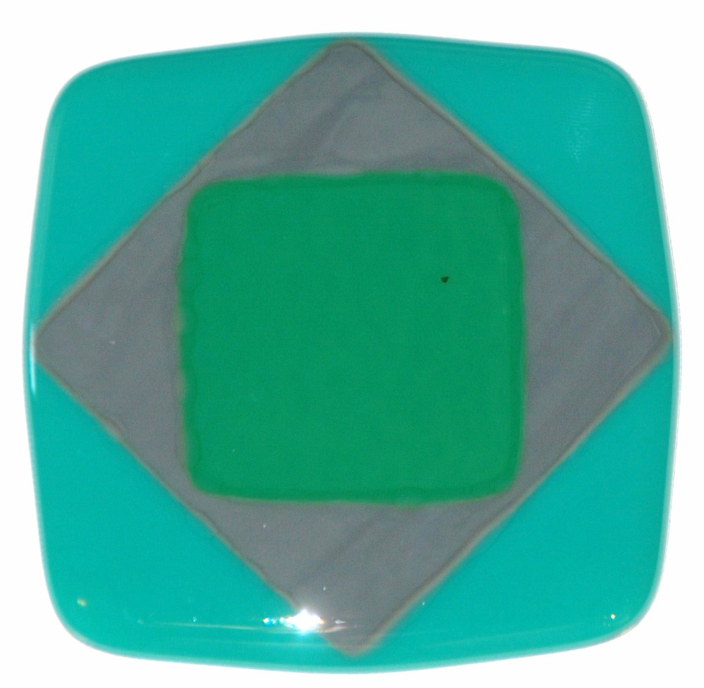 Craftsman fused glass diamond tile in jade green, gray, and emerald