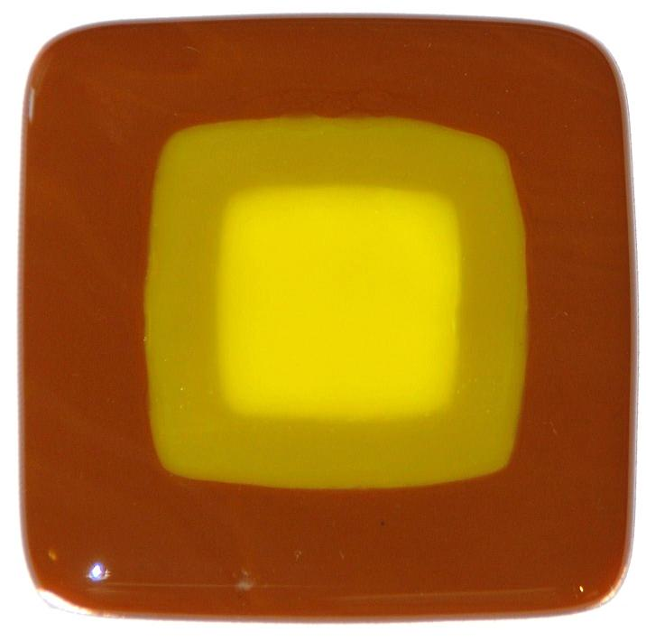 Craftsman fused glass tiles in woodland brown, golden green, and golden yellow
