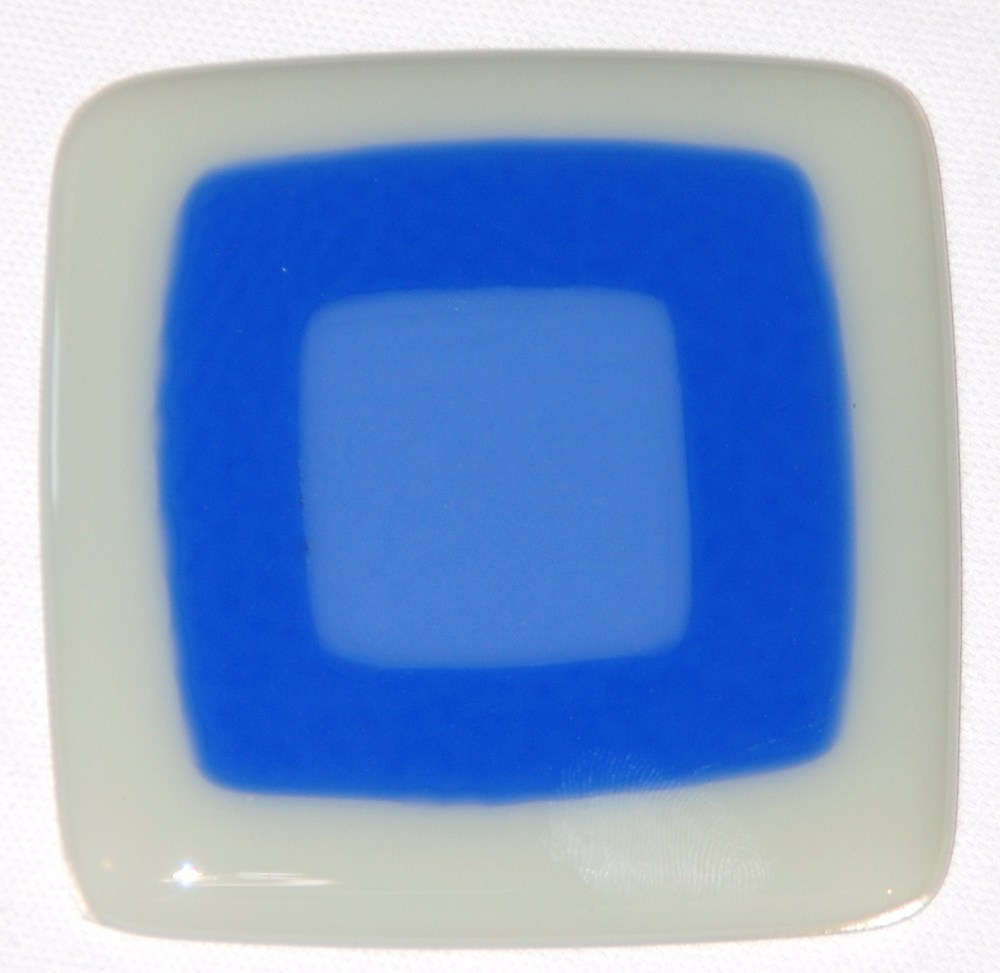 Craftsman fused glass tile in dove gray, sky blue, and periwinkle