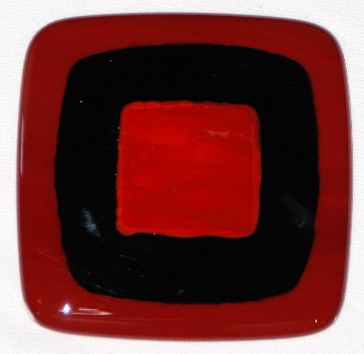 Craftsman fused glass tiles in dark red, black, and crimson
