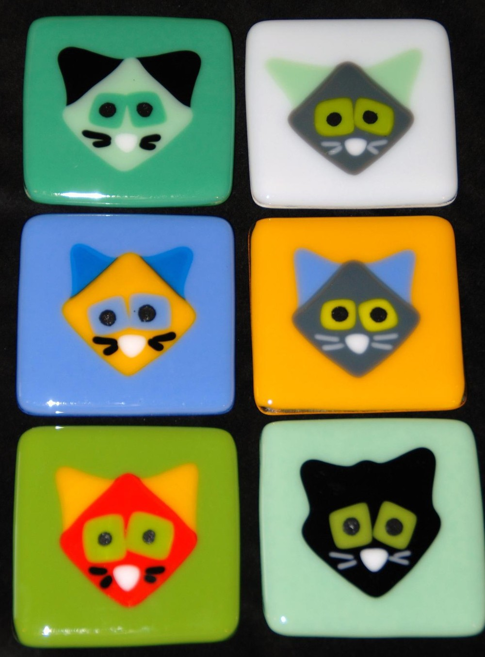 six cat tiles in fused glass.JPG