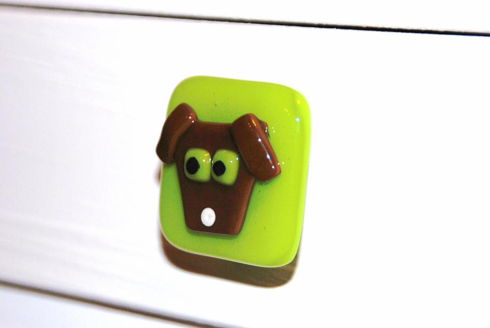 cabinet pull brown dog on green 2.JPG