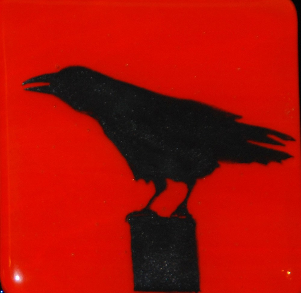 crow on post on red.jpg