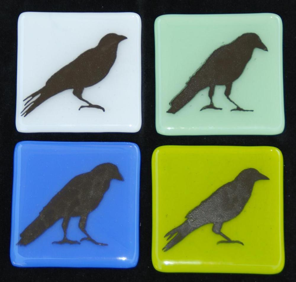 four crow tiles in greens, blue, and white.JPG