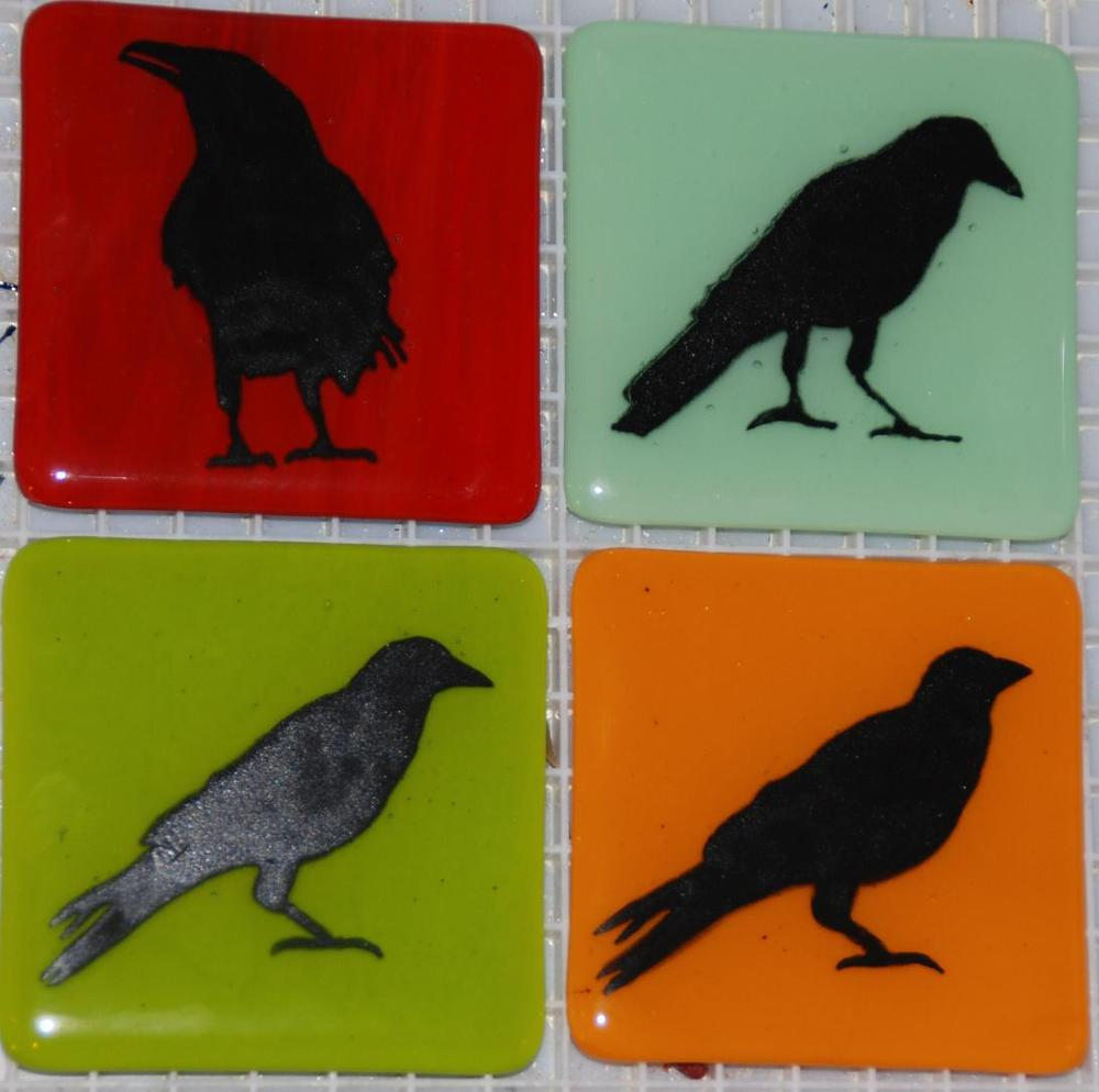 four crow tiles in warm colors.JPG