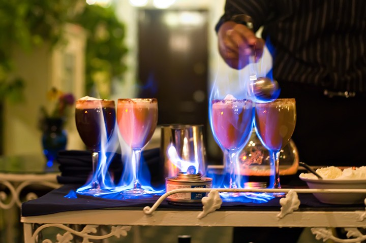Don't miss The Manisses famous flaming coffee drink