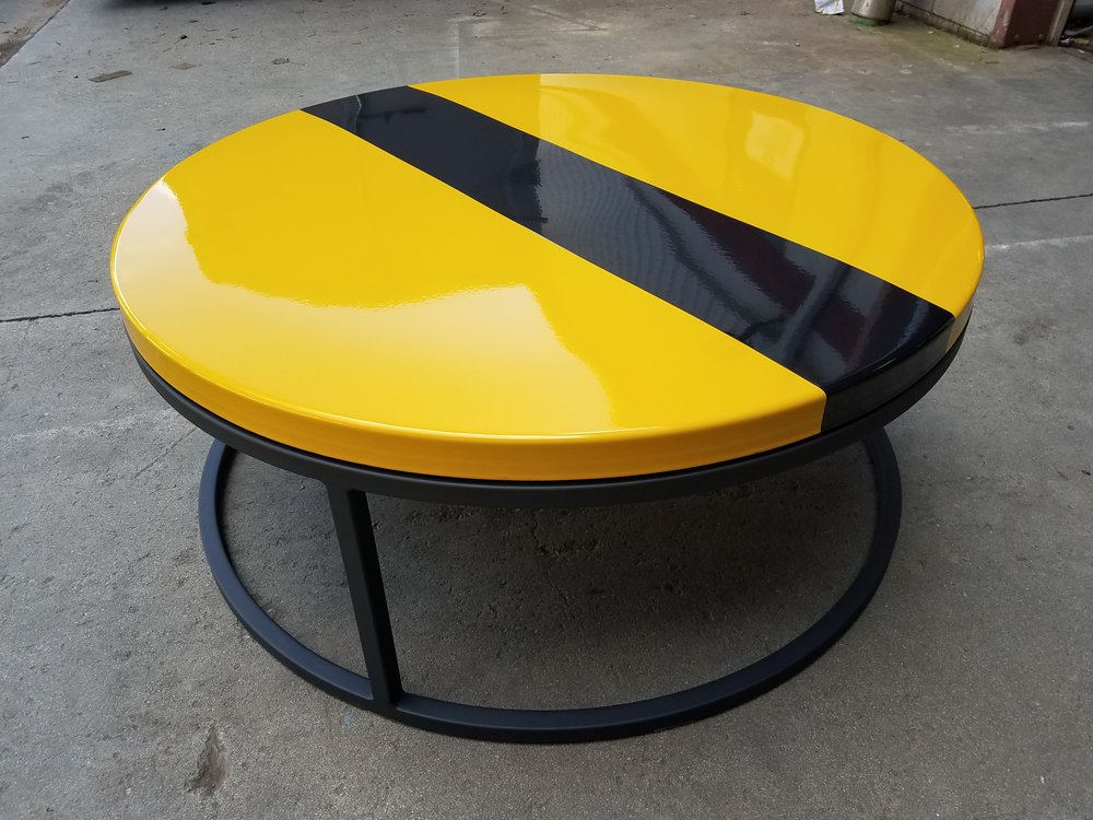 porcelain enamel table yellow with black stripe