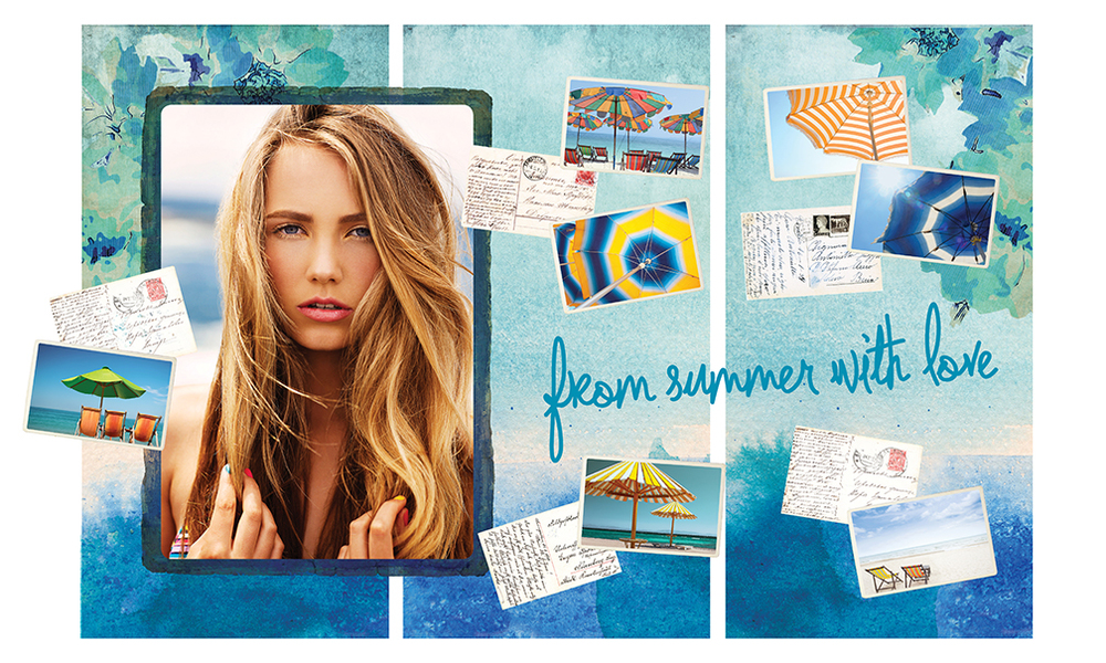 Murale Summer 2013 Window Layout Showing Window Poster, Window Type Decal, Hanging Die Cut Postcards + Hanging Background Panels.