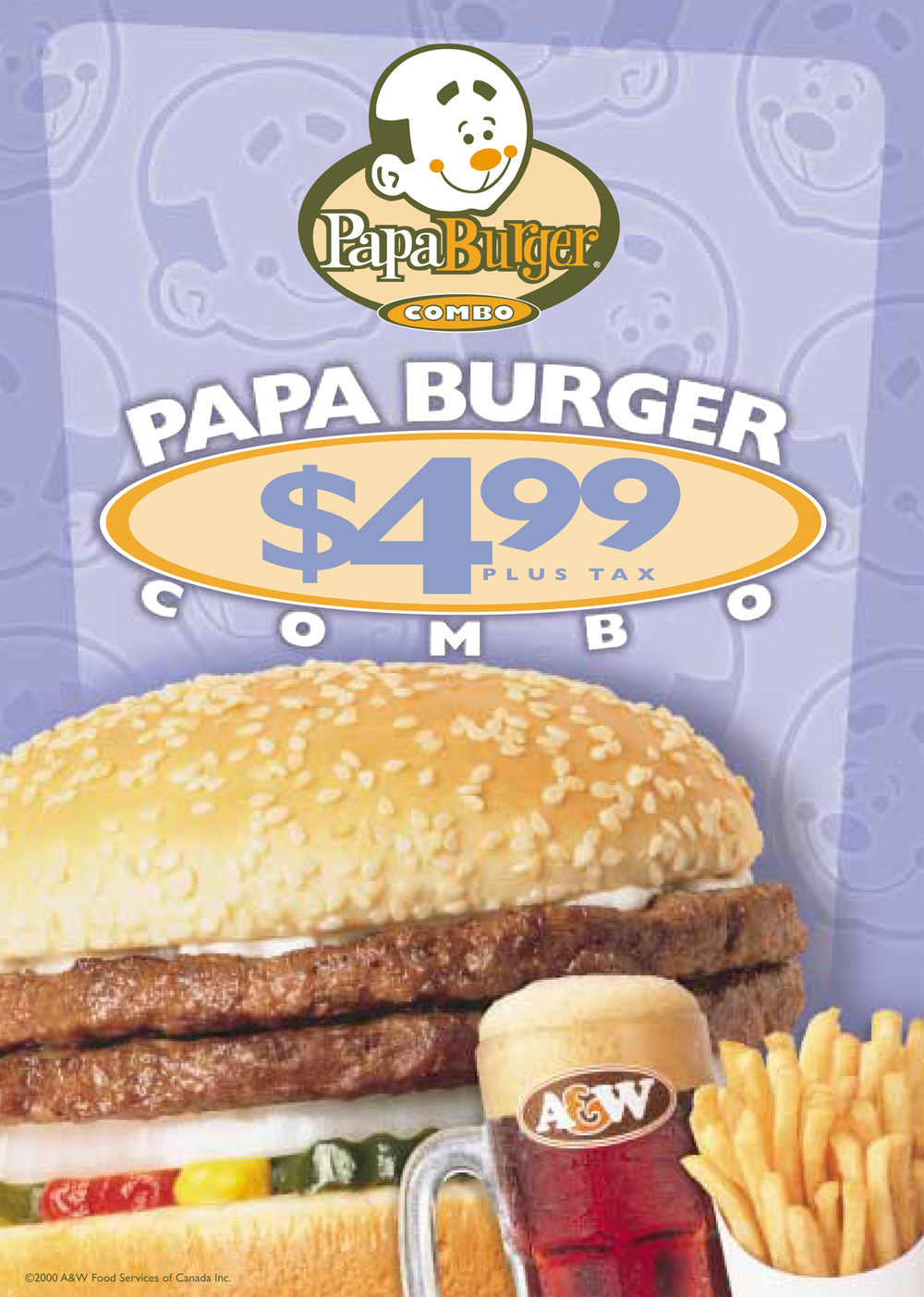 A&W Burger Family Papa Burger Relaunch Window Poster 52 x 73