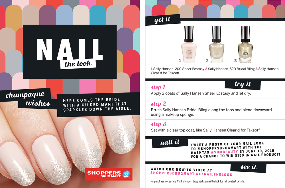 Shoppers Drug Mart Nail Campaign 2015 How-To Tear Pad - One for each of the Four Looks. Tear Pads Displayed on the Quad Unit & on Aisle Flag Signs