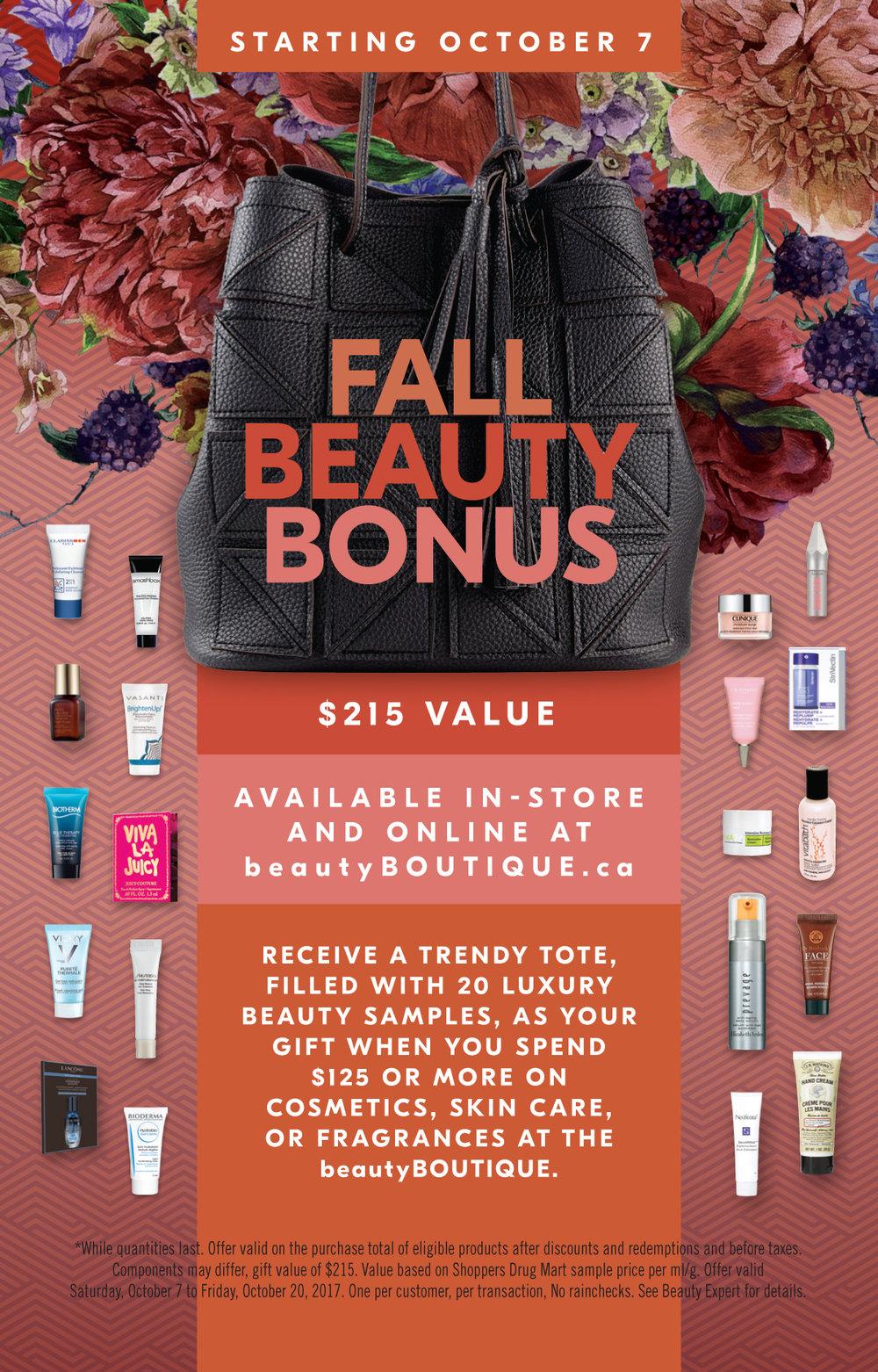Shoppers Drug Mart Fall Beauty Bonus Counter Card 4 x 6.5