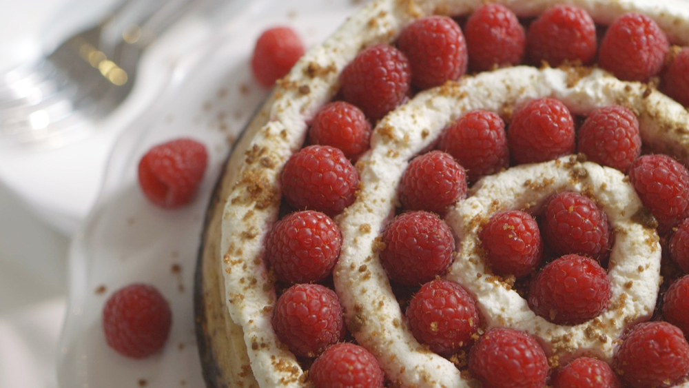 Raspberry-Cranberry Spiced Cheesecake, by Dorie Greenspan for Driscoll's.