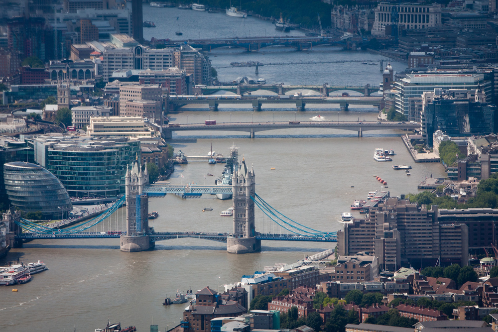 A view of the Thames, with Tower Bridge in the foreground