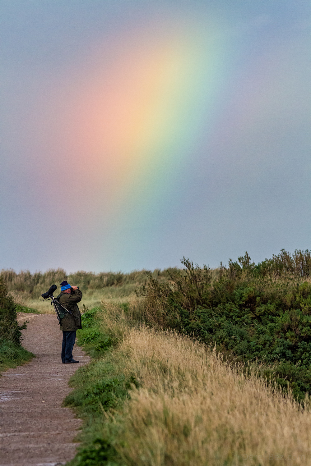 A man uses binoculars to watch birds while a rainbow illuminates the sky at RSPB Titchwell