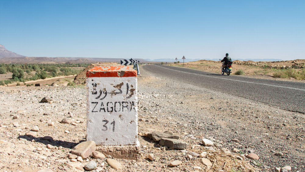 Milemarker on the road to Zagora, Morocco