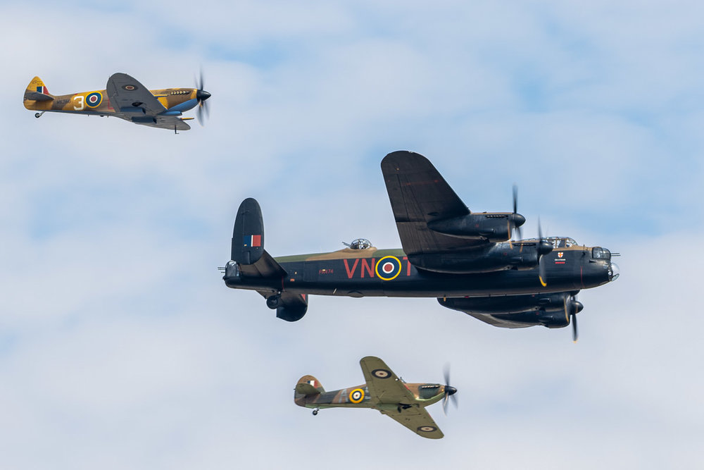 Lancaster, Spitfire and Hurricane aircraft display during Battle of Britain Memorial Flight