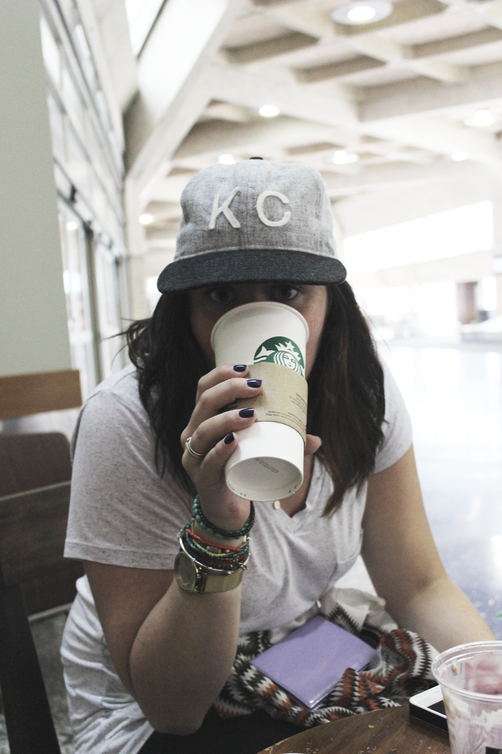 My last cup of Starbucks. Had to take KC with me so I bought a Baldwin hat!