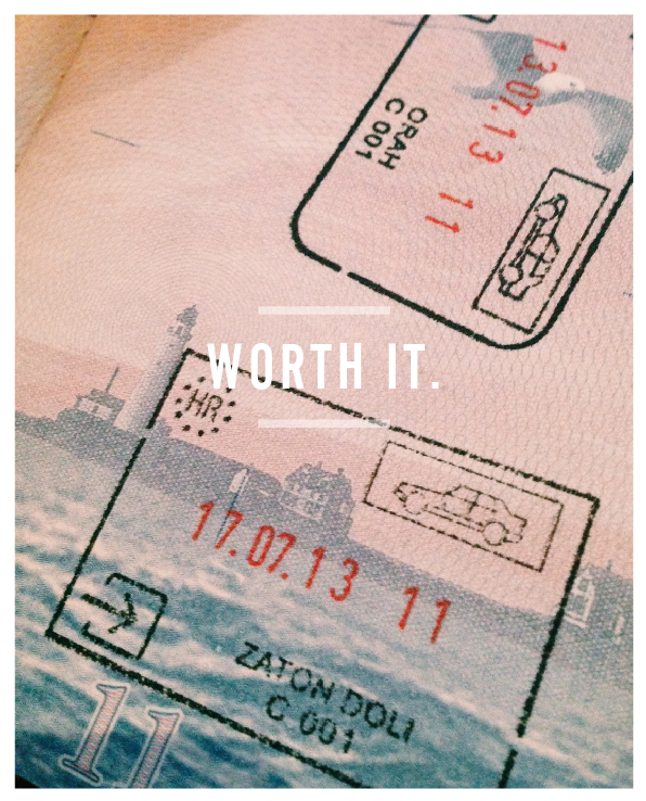 my first passport stamps for a car border check