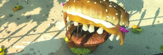 What about this. The epic 3d gore animation of a deadly human eater hamburger. If you haven't seen it, feel a bit bad about it. One of the most complete characters, scene designs, animations and special scripts that you'll ever face. Lots of hard work here but this piece speaks for its own. 