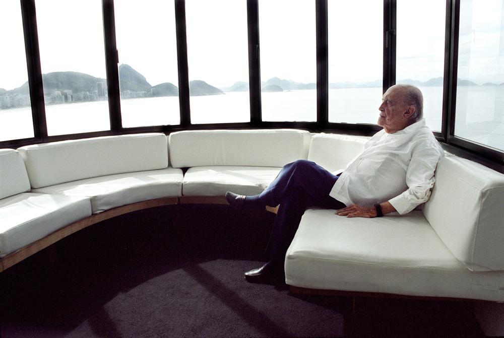 Niemeyer at his office in Copacabana