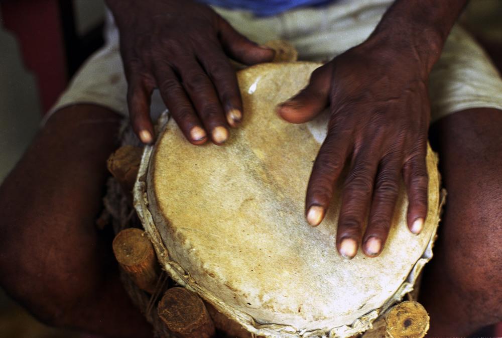 Santeria Drummer, Trinidad, Cuba