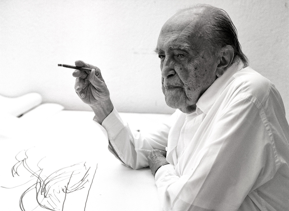 Niemeyer at his office in Rio