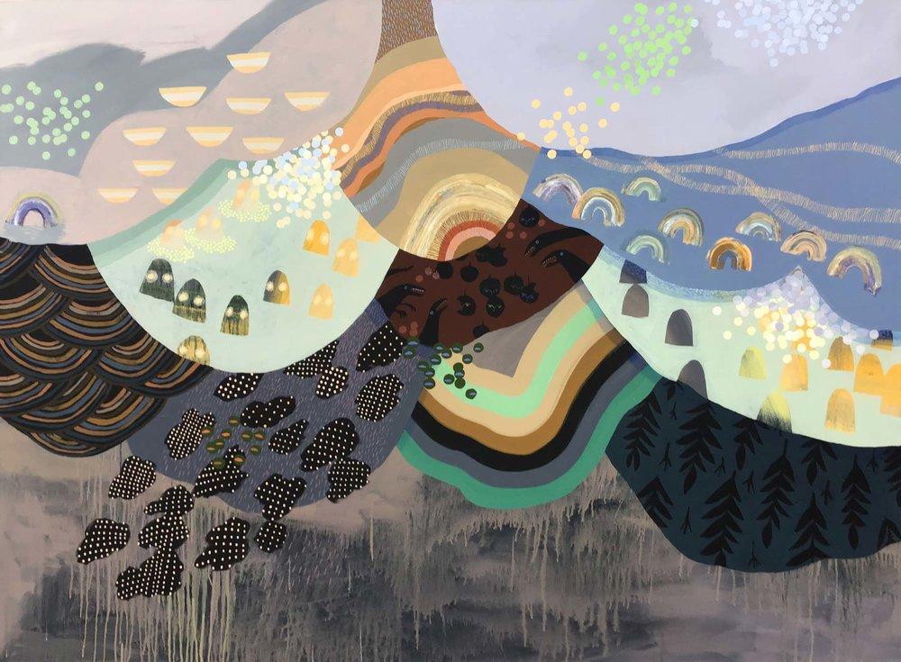 "Soundstage, acrylic on canvas, 48"" x 66"""