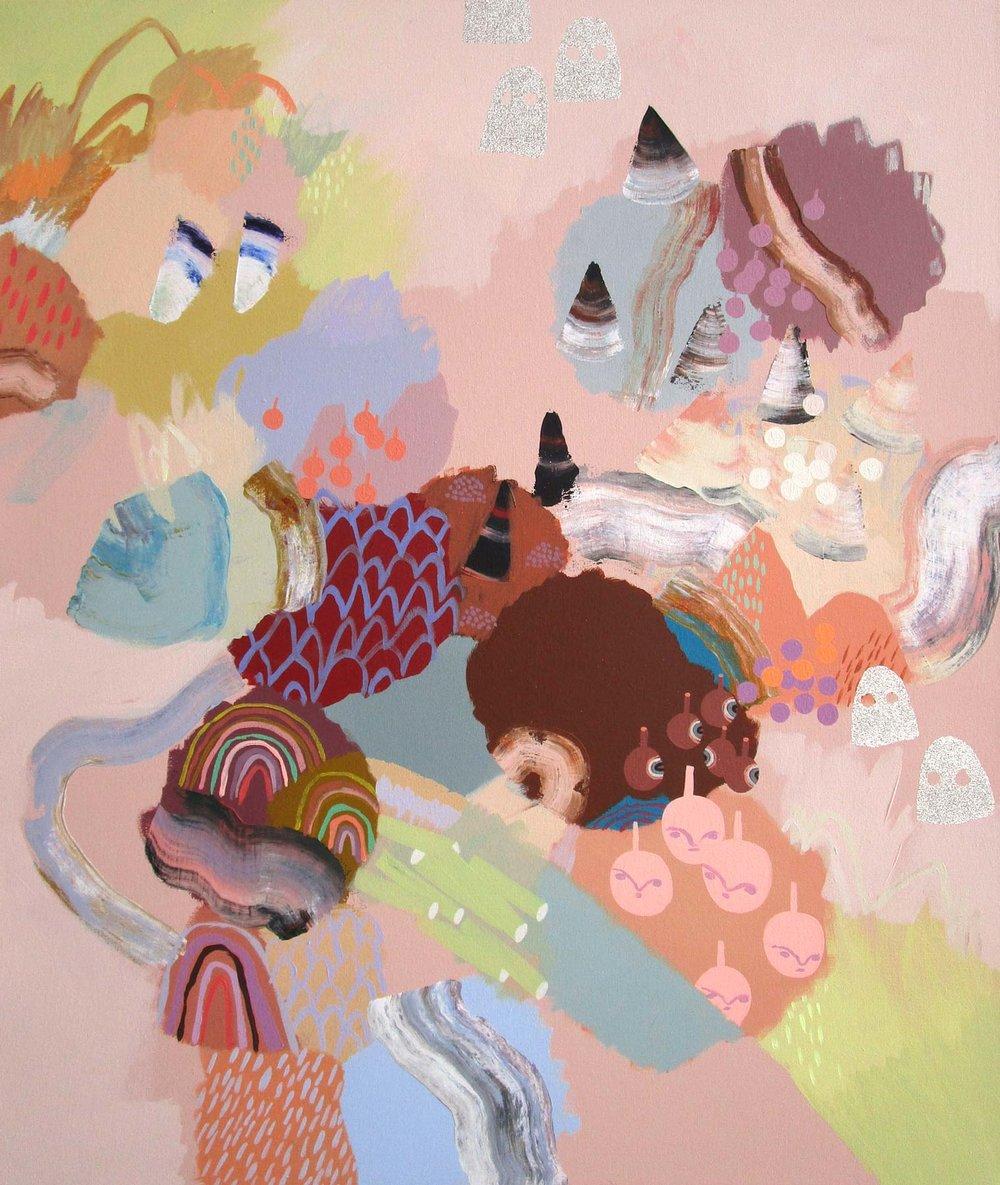 "Peaches of the Moon, acrylic + glitter on canvas, 36"" x 30"""