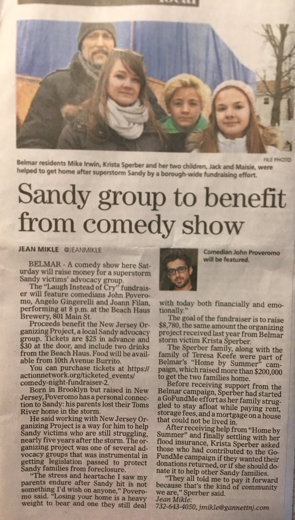 Asbury Park Press - Cry instead of Laugh Comedy Show Benefits Sandy Victims