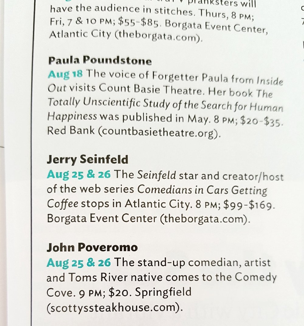 Blurb in NJ Monthly Magazine