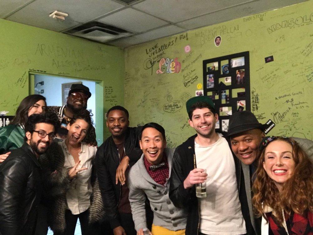Flappers Comics! LtoR - Dawn Sesta, Courtney Bang Rice, Meg Schaab, George K Burns, Kevin Yee, Eric Freedman, President Manchester, Alicia Racine!
