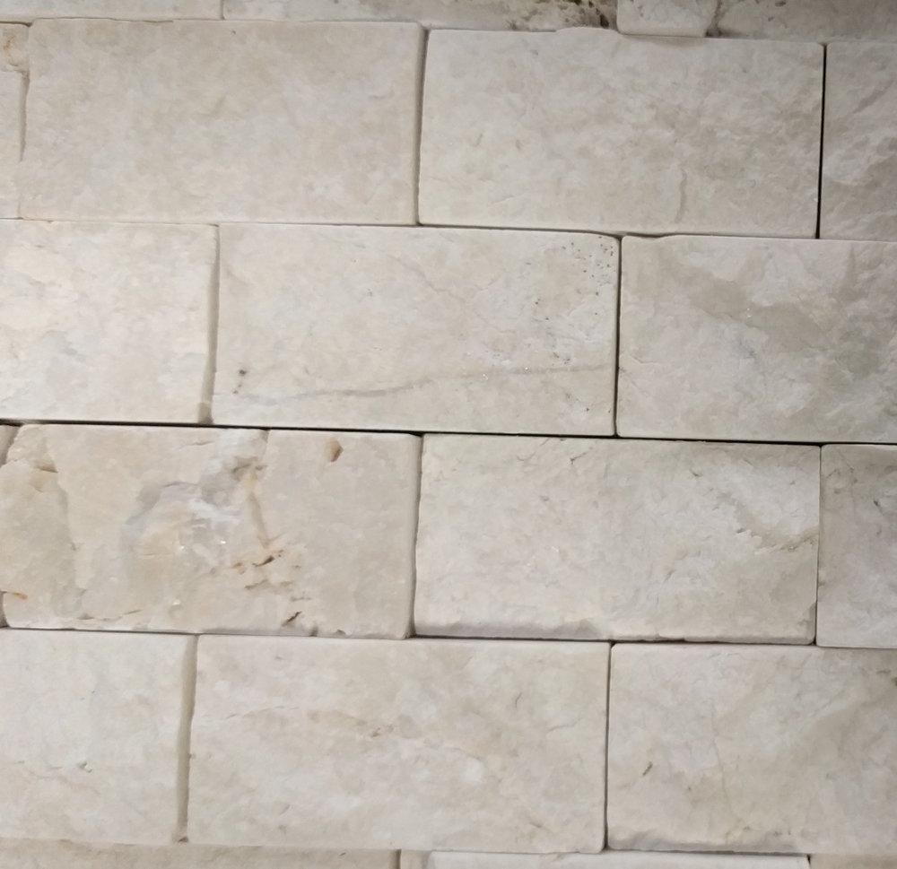 Vanity Accent Tile: Floor & Decor Rock Ridge Pearl Stacked Stone Brick Marble Mosaic Size: 11 x 12 SKU:932100197