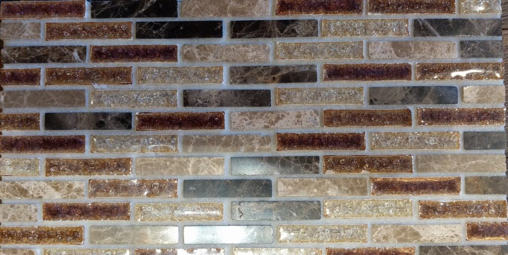 Finish 2 - Glass and Stone Linear MosaicElysium Jewel Series Princess 11.75 x 12 Mosaic $0.87 sq ft