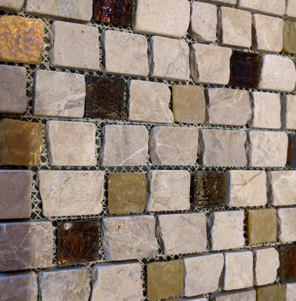 Finish 5 - Island Stone Desert Tan Tan Marble & Glass sr1mx01 11 x 11.75 interlocking tile