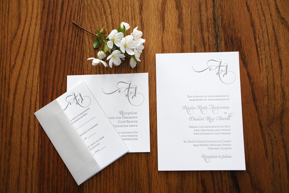 Letter pressed ceremony invitation + reception invitation + rsvp sent out in pale grey linen envelopes via Studio255