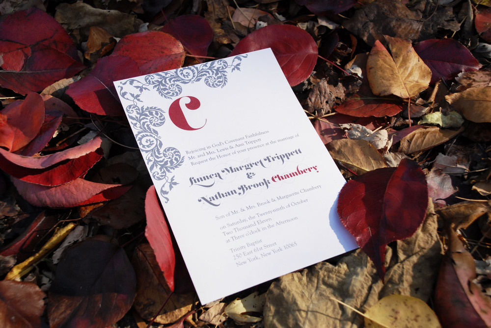 Traditional wedding invitation for an October wedding, via Studio255