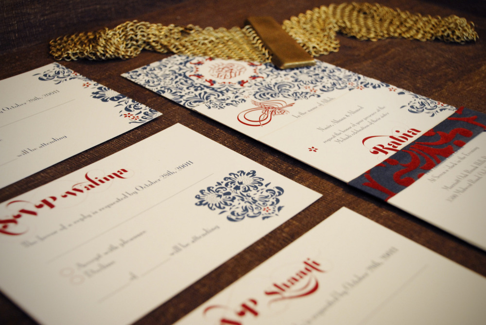 Layered wedding invitation for three ceremonies + three rsvp cards kept together with a textured band via Studio255