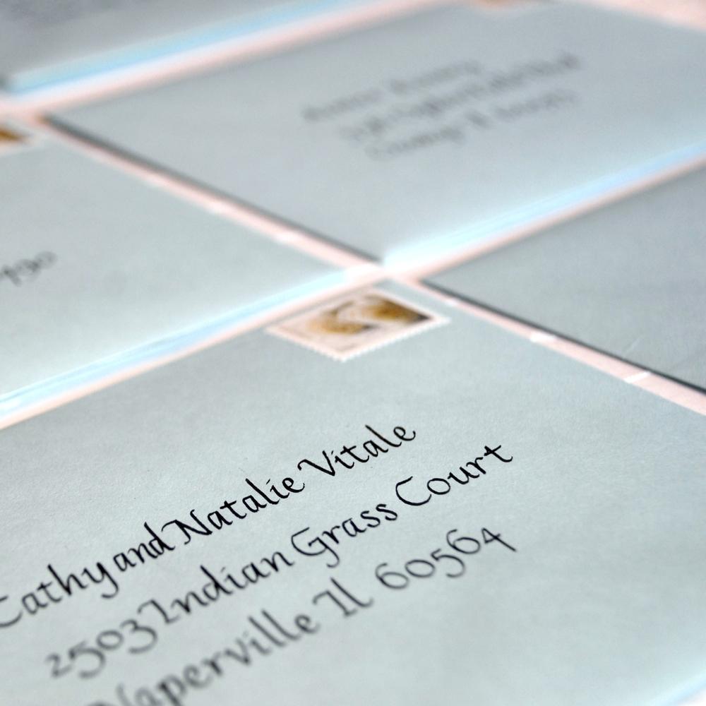 Calligraphy on envelopes
