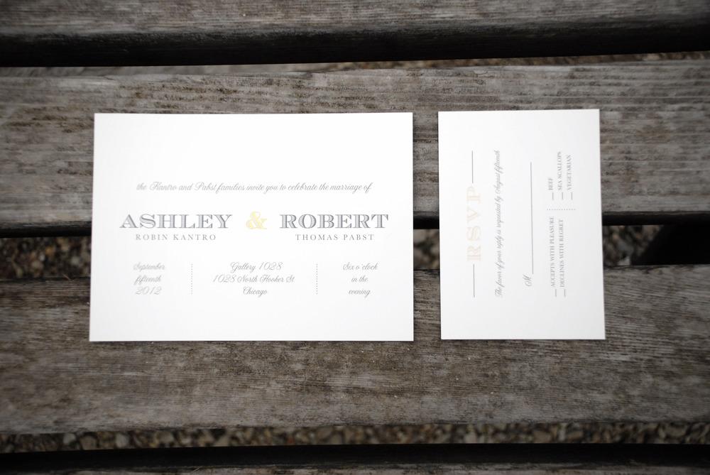 Gold foil imprinted ampersand, invitation + rsvp card via Studio255