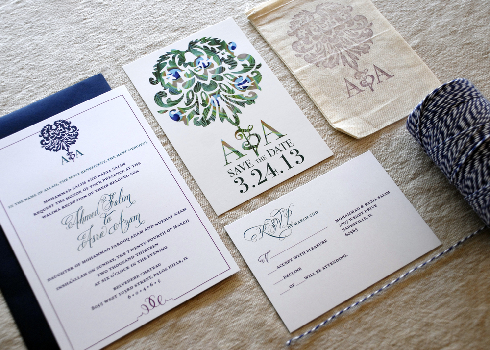 Flat wedding invitation + RSVP postcard, shown with corresponding Save the Date postcard and stamped linen bag for favors via Studio255