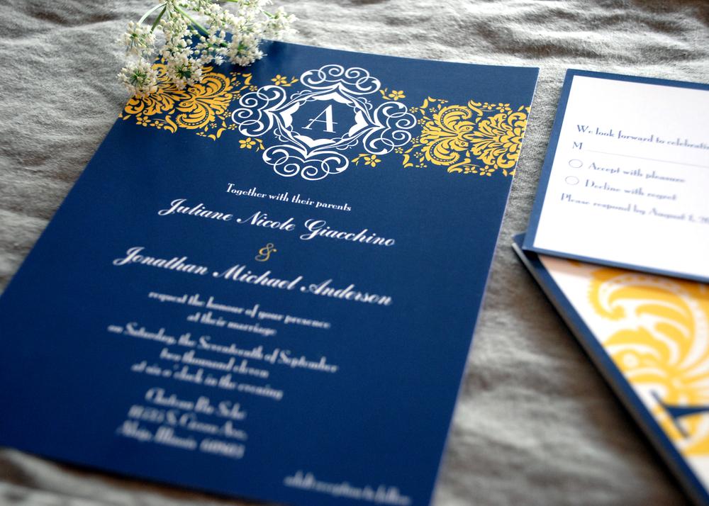Flat wedding invitation + RSVP postcard via Studio255