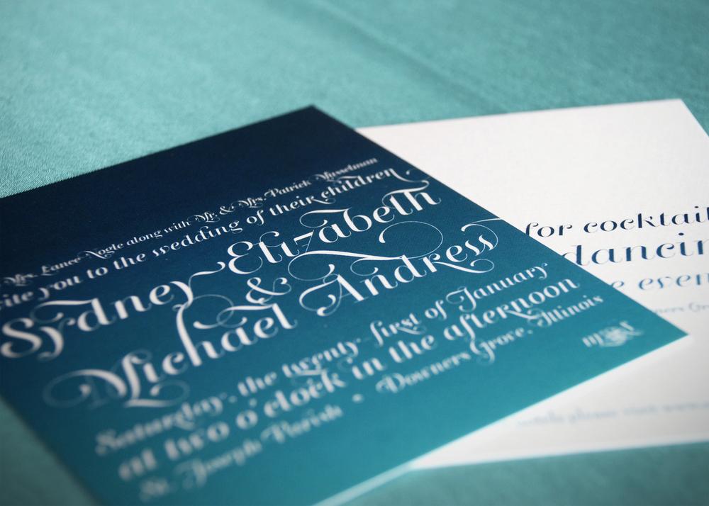 Ombre-inspired wedding invitation and reception invitation via Studio255.