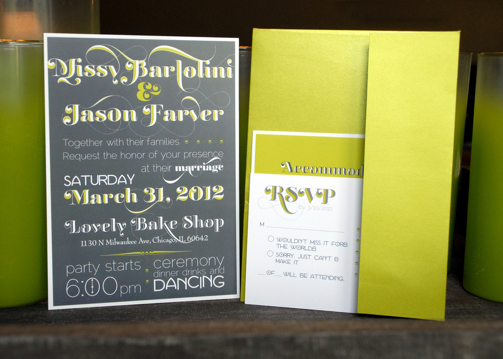 Flat wedding invitation with layered accommodations card and RSVP postcard. Sent out in matching green envelope. Via Studio255