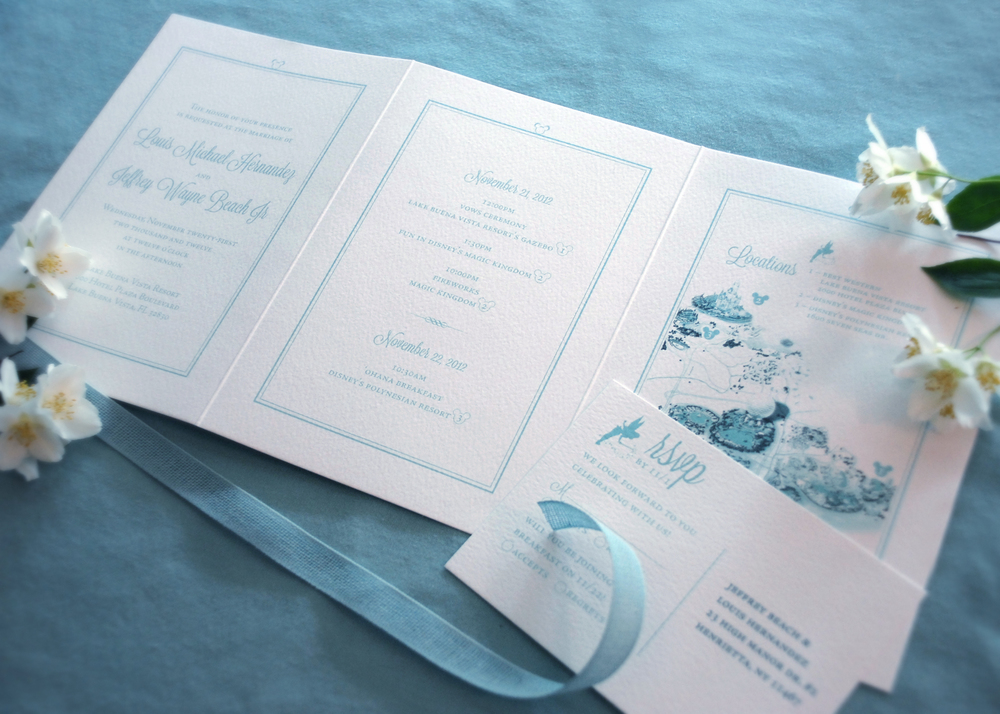 Z-fold Disney destination wedding invitation with RSVP postcard. Panels include: ceremony invitation, list of weekend events and an informational map, via Studio255