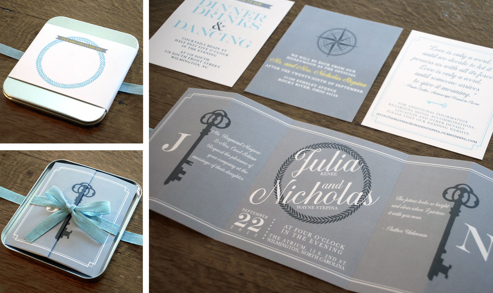 5-piece invitation suite: ceremony invitation, reception invitation, RSVP post card, information card and at-home card. Tied in a loose-weave ribbon and mailed out in a tin with a custom band wrapped around it, via Studio255